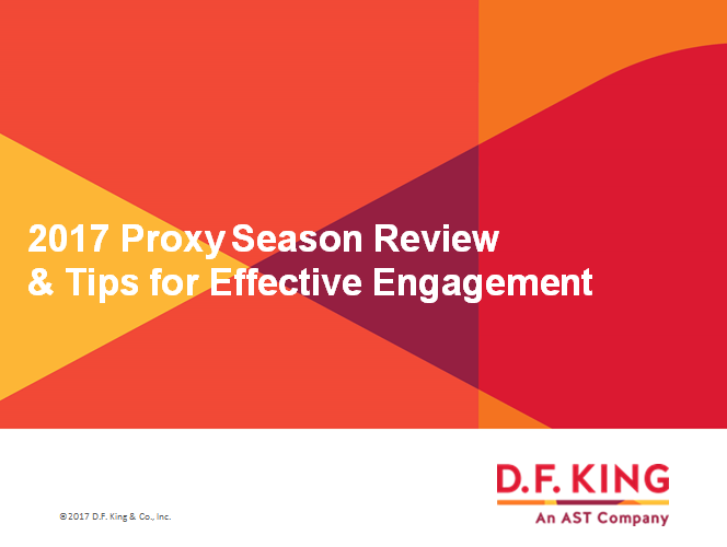 Takeaways from the 2017 Proxy Season & Tips for Effective Engagement
