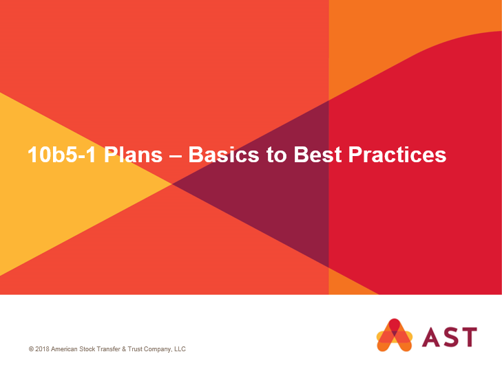 10b5-1 Plans – Basics to Best Practices