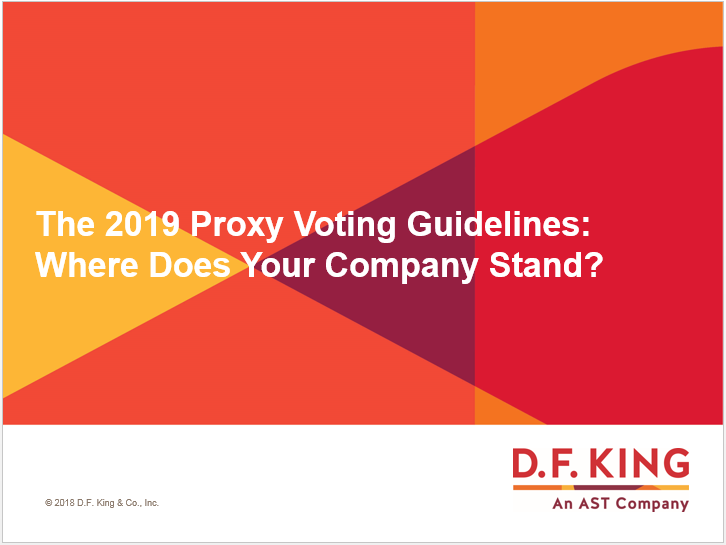 The 2019 Proxy Voting Guidelines: Where Does Your Company Stand?